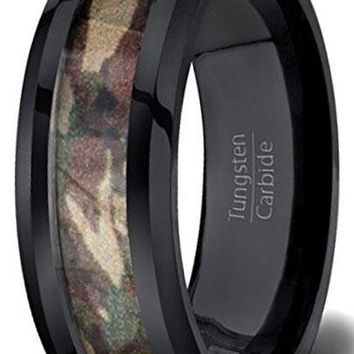 CERTIFIED 6MM Black Tungsten Ring Green Camo Polished Beveled Edge