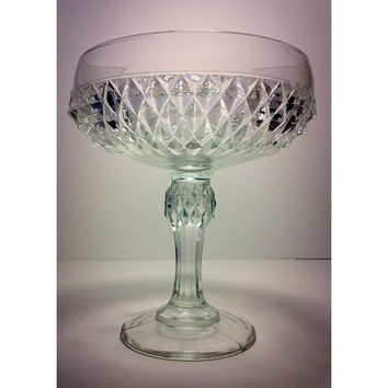 Crystal Glass Pedestal Bowl, Crystal Glass Compote, Candy Dish, Clear Pressed Glass, Vintage Glass, Display Cabinet