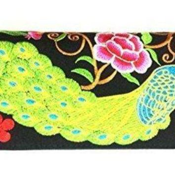 CREYON Wallet by WP Embroidery Peacock Flower Zipper Wallet Purse Clutch Bag Handbag Iphone Case Handmade for Women, Pink Wallet