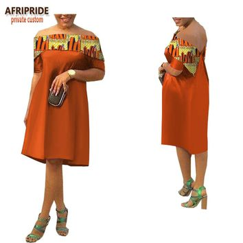 spring new african casual dress for women AFRIPRIDE short sleeve slash neck knee-length women A-Line cotton dress A1825016