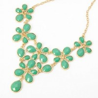 Fashion Golden Chain Water Drop Green Resin Beads Bubble Crotch Pendant Statement Bib Necklace:Amazon:Jewelry