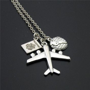 LMFONHS 1pc 2017 Wanderlust Passport Earth Airplane Necklaces & Pendants Silver Travling Jewelry E1020