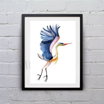 Flying carne watercolor painting wall art print Carne poster kid baby water bird animal decor nursery art sea bird beach feather poster art