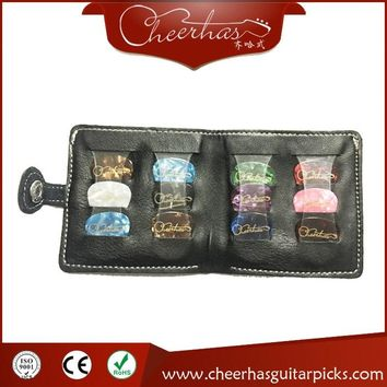 soft genuine leather guitar pick wallet holder with 12pcs guitar pick