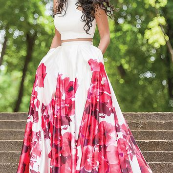 White/Multi Sleeveless Satin A-line Prom Dress 34028
