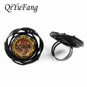 Steampunk 2017 New Zena Warrior Princess Xena flower big ring Jewelry Glass Cabochon flower big ring Women Men Gift