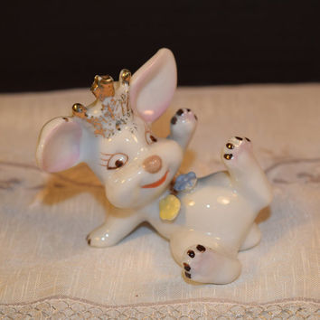 Wacky Bunny Figurine Vintage Funny Bunny Figurine Porcelain Crown Rabbit Laying on Side Figurine Easter Collectible Figurine Easter Gift