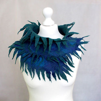 Felted Collar Felted Scarf Peacock Green Navy Blue art wrap, peacock feather, fringe, gift for her