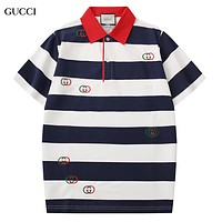 GUCCI New fashion embroidery letter lapel couple top t-shirt