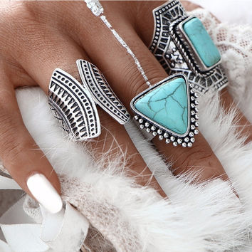 3Pc/Set  Boho Vintage Teal or Coral Stone Midi Finger Rings