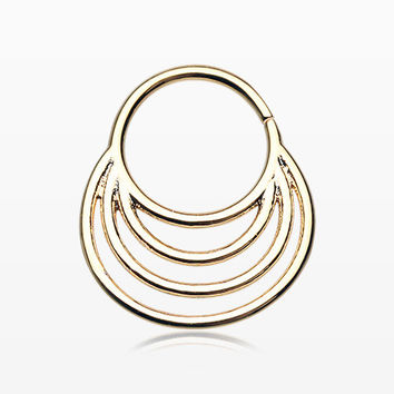 Golden Meridian Circle Septum Twist Loop Ring