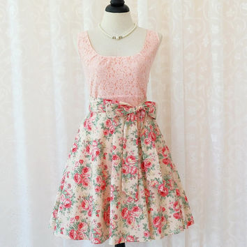 My Lady - Pink Lace Top Peachy Pink Floral Skirt Spring Summer Party Dress Bridesmaid Floral Dress Tea Dress Vtg Style Dress XS-XL