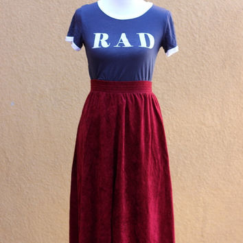 Vtg crushed velvet faux circle skirt high waist maroon elastic waist Small XS knee midi