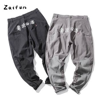 ZAITUN Plus Size 5XL Harem Pants Me Linen Chinese Writing Embroidery Traditional Style Patched Hip Pop Swag Cross Casual Trouser