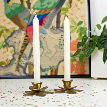 antique brass lotus flower candle holder / solid brass candlestick set