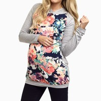 Grey-Neon-Floral-Hooded-Maternity-Top