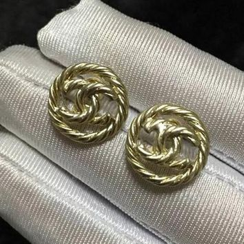 8DESS Chanel Women Fashion Stud Earring Jewelry