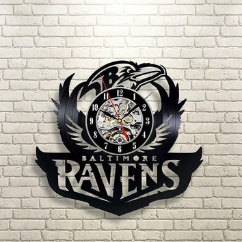 Black Hollow Baltimore Ravens Vinyl Record Clock Creative and Fashionable CD LED Wall Clock Antique Style Hanging Wall Clock