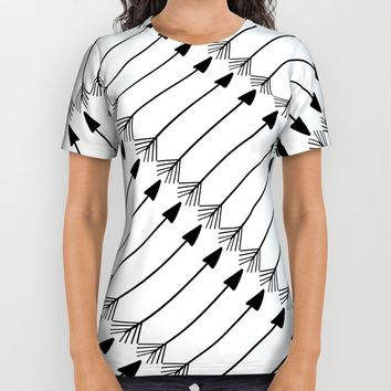 Tribal Art Arrows Pattern, Black and White Design, Arrow Design All Over Print Shirt by Itaya Art