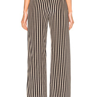 Etro High Waisted Stripe Trousers in Black & White | FWRD