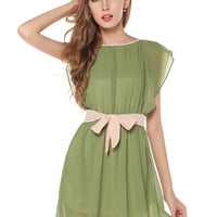 Army Green Bow Belted Chiffon A-Line Pleated Mini Dress with Flounced Sleeves