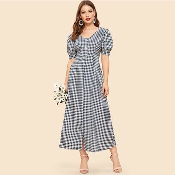 Vintage Black and White Double V Neck Button Down Gingham Midi Dress Women Elegant Puff Sleeve High Waist Dress