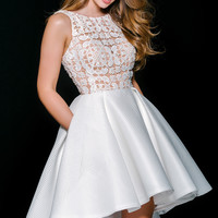 White Sleeveless Fit and Flare Dress 36620