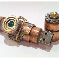 Steampunk 32GB USB Flash Drive Model 367 in a by BasementFoundry