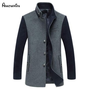 Free shipping new arrival 2018 mens autumn and winter high quality wool blends jackets and coats single button pea coat 195hfx