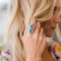 Triple Stone Turquoise Ring