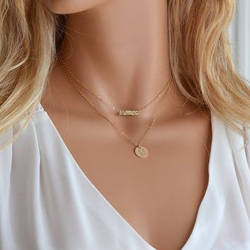 Layering Initial Necklace / Minimal Necklace / Initial disc Necklace / Dainty Bar Necklace / Delicate Choker Necklace / Disc Necklace