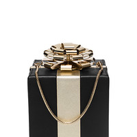 Kate Spade Square Gift Box Clutch Black/Gold ONE