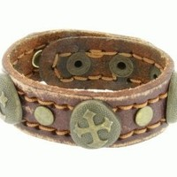 Christian Unisex Leather Adjustable Bracelet with Round Vintage Brass Metal Fancy Cross Studs - Purity Bracelet,Mens Bracelet,Womens Bracelet,Boys Bracelet,Girls Bracelet: Jewelry: Amazon.com