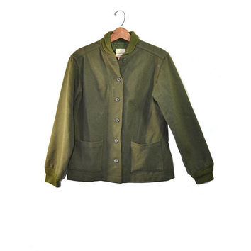 Vintage Army Jacket  Green Army Jacket Liner Wool Army Liner Vietnam Era Army Shirt Wool Liner Woman's Army Jacket Liner