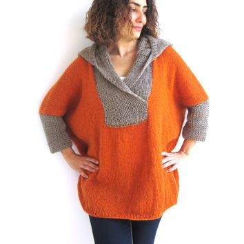 Plus Size Hand Knitted Sweater with Hoodie- Beige- Orange - Poncho - Tunic - Dress by Afra