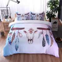 Ox Skull Feather Duvet Cover Set