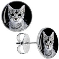 Inverted Cross Evil Kitty Stud Earrings | Body Candy Body Jewelry