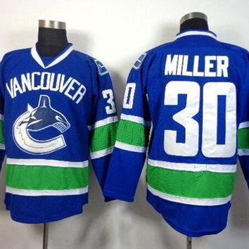 Vancouver Canucks Ryan Miller Ice Hockey Jerseys 30 For Sport Fans Men Team Color Blue Breathable All Stitcing High Quality