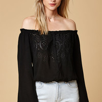 Honey Punch Eyelet Button-Front Off-The-Shoulder Top at PacSun.com