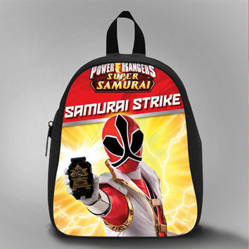 Power Ranger Samurai Strike, School Bag Kids, Large Size, Medium Size, Small Size, Red, White, Deep Sky Blue, Black, Light Salmon Color