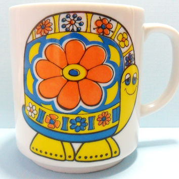 Turtle Mug Colorful Flower Power Turtle Tea Cup Coffee Mug Psychedelic Hippie Mug