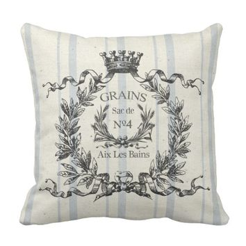 French Grain Sack Throw Pillow