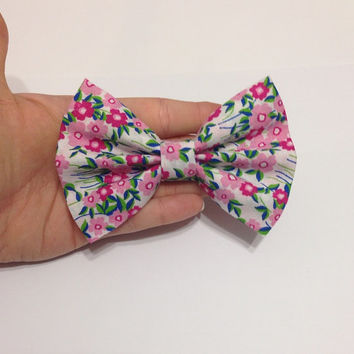 Light Floral Fabric Hair Bow on Alligator Clip - 4.5 Inch Wide