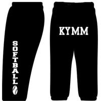 Custom Softball Sweatpants-Black-Youth Large 14/16
