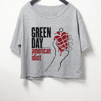 Green day,crop top, grey color, women crop shirt, screenprint tshirt, graphic tee,[ S/M ] , L size