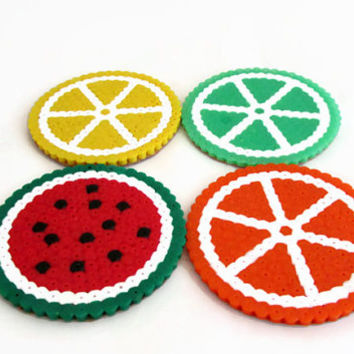 Fruit drinks coasters , hama perler bead , pixel art , kitchen christmas gift , uk seller