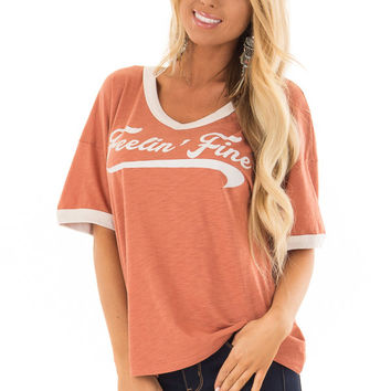 Apricot and Cream 'Feelin Fine' Short Sleeve Tee