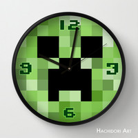 Wall clock Creeper of Minecraft