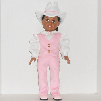 American Girl Doll Clothes Pink Suede Western Vest and Jeans with White Shirt and Cowgirl Hat fits 18 inch dolls