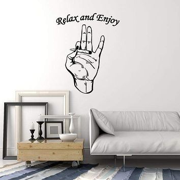 Hippie's Hand Vinyl Wall Decal Joint Cannabis Smoking Art Decor Stickers Mural (ig5294)